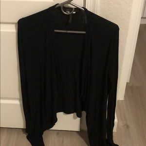 BCBG black ribbed cardigan